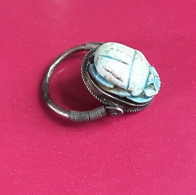Ancient/Antique Swivel Egyptian Turquoise Scarab Beetle Ring W/ Hieroglyphics