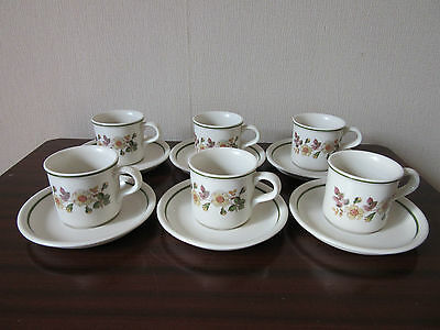 Marks & Spencer Autumn Leaves Tiny Expresso Coffee Cups & Saucers  X  6  Unused