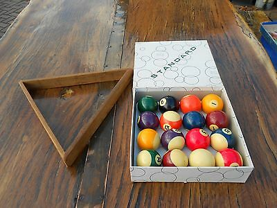 Set of Vintage Standard Belgian Pool Balls and Wooden Triangle
