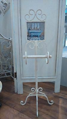 Free Standing Heavy Metal Cream Toilet Roll Holder With Bath Caption Inlay