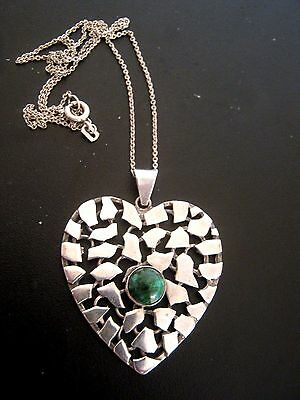 Antique Vintage Silver Heart Shape Pendant With Malacite Stone Centre And Chain