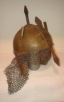Chainmail Helmet With Plume Holders And Nose Guard
