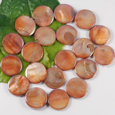"""Mother Of Pearl MOP Shell Flat Round  Loose Beads 16""""L"""