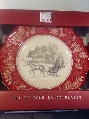222Fifth Andover Christmas  4 New In Box Salad Plates