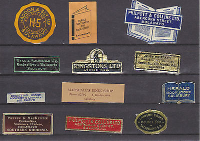 Rhodesia,12 different vintage Bookseller labels.