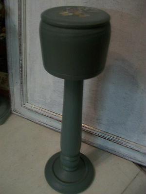 Vintage wooden hat stand wig stand painted with wild thyme paint