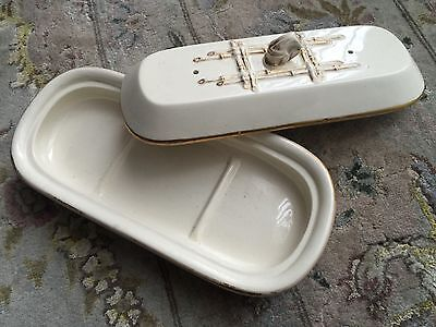 Antique 19th Century English Victorian Porcelain Cutthroat Razor/Toothbrush Tray