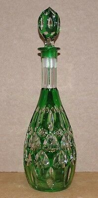 ### Wonderful Bohemian Green Overlay Cut To Clear Glass Decanter ###