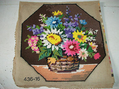 Vintage completed needlepoint tapestry floral picture bowl of flowers