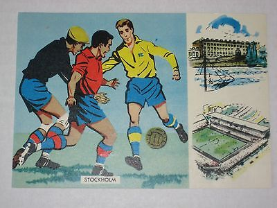 1958 World Cup - Sweden - Opening Day Football Postcard - 8 June, 1958