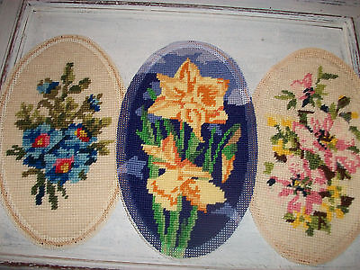 Vintage completed needlepoint tapestry floral picture x 3