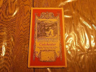 Near Antique Ordnance Survey 1932 Contoured Road Map 97 Colchester Cloth Backed