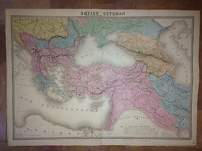 OTTOMAN EMPIRE 1863 by ANDRIVEAU-GOUJON VERY LARGE WALL MAP COPPER ENGRAVED