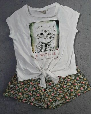 Next age 6 cat top and short set