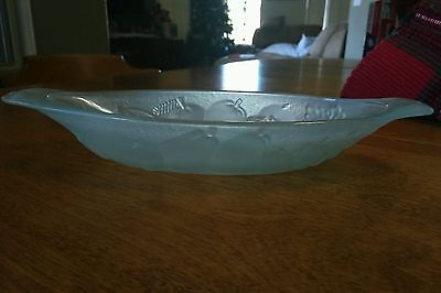 1 (one) MINT FRANCE FRUIT OVAL DISH BOWL FROSTED AQUA GLASS BLUE Unknown maker