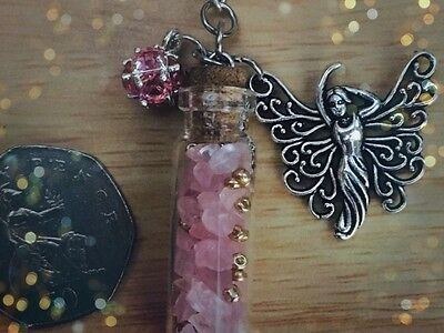 Pagan Rose Quartz Goddess of Love necklace wishing bottle