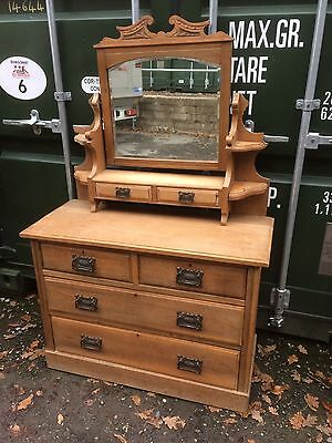 Antique Oak Dressing Table Chest Of Drawers