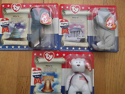 STOCKING FILLERS-American Trio of boxed Teenie Beanie toys - new un-opened packs