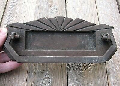 Art Deco Solid Brass Letter Box Plate / Mail Slot with Door Knocker