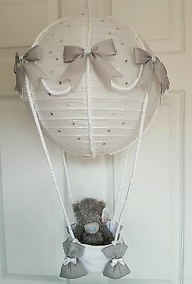 Hot air balloon light shade silver + me to you teddy looks stunning nursery baby
