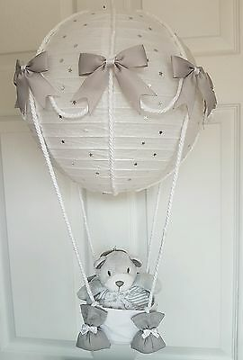 Hot air balloon light shade silver with a teddy comforter stunning in nursery