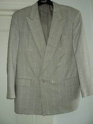 """Desch * Beige Check Double Breasted Blazer * 42% Wool * Chest 46"""" Length 32"""""""