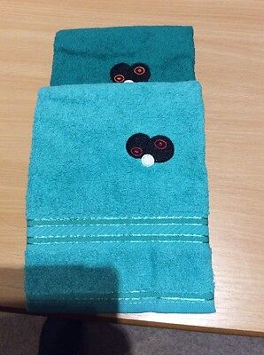 Set Of Two Bowling Towels With Embroidered Motif