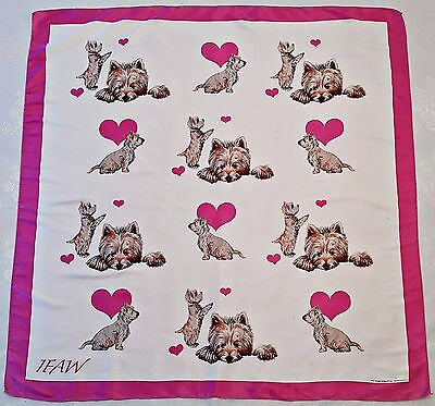 """Vintage Ifaw Chrissie Snelling Love Dogs Westie Satin 37"""" Square Scarf"""