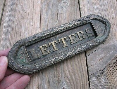 Antique Small Reclaimed Brass Letter Box Plate / Door Mail Slot