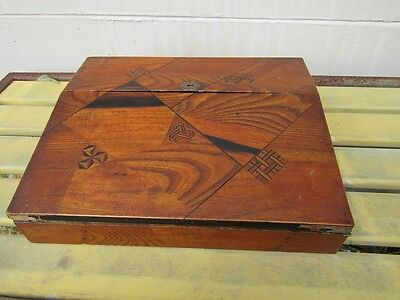 Meiji Period Japanese Wood Marquetry Inlay Lap Field Desk