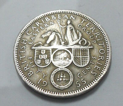 1955 Fifty 50 Cents British Caribbean Territories Coin. circulated