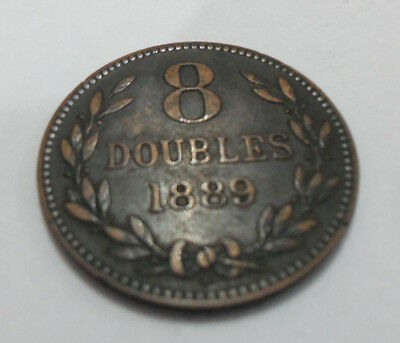 Guernsey 8 eight doubles 1889 coin. used circulated