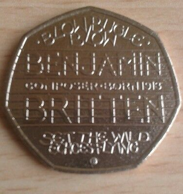 50p Coin Benjamin Britten x 1 Uncirculated