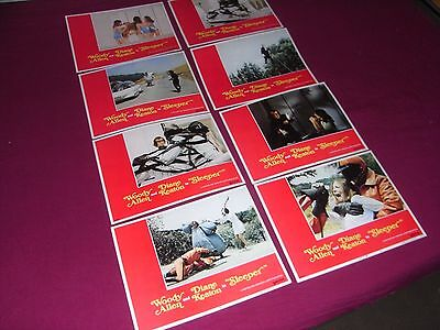 """Sleeper 1973 Woody Allen Us Lobby Card Set 14"""" X 11"""" Excellent Condition Rare"""
