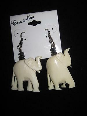 Vintage Carved Elephants Pierced Earrings~Made in India
