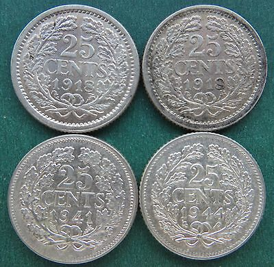 NETHERLANDS SILVER LOT - 4 x 25 CENTS DATE 1918x2 1941 1944