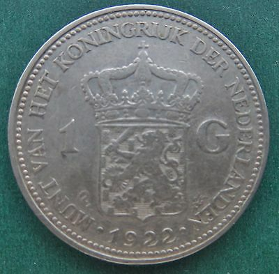 Netherlands Silver One Guilder Coin 1922
