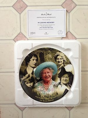 "The Queen Mother-""In Loving Memory"" plate by Coalport-Danbury Mint with COA"