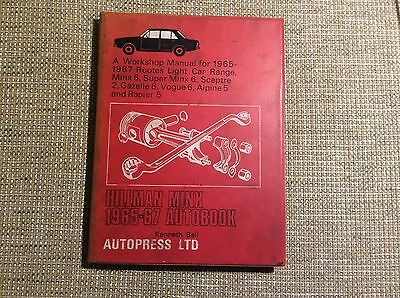 Hillman MInx 1965-1967 Workshop Manual. Includes Sceptre, Gazelle, Vogue Etc