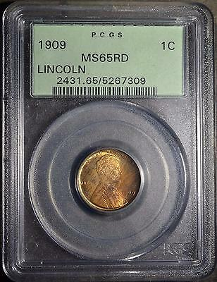 1909 PCGS MS65 RD Lincoln Cent Rare TONED GEM RED Wheat Penny 1c Ships FREE OGH
