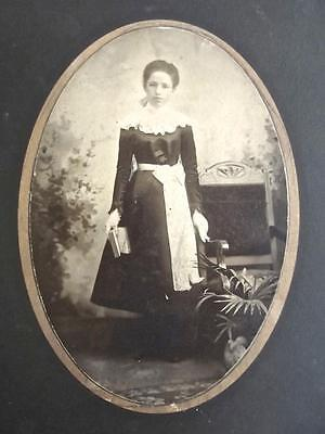 Antique 1920s Cabinet Photograph of Young Girl Holding Book Confirmation Photo