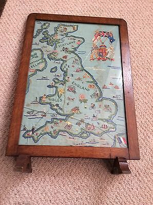 Vintage Embroidered Oak Fire Screen
