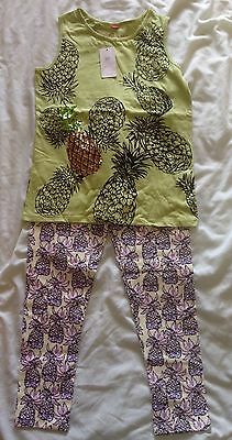Beautiful Girls Pineapple Outfit, Leggings & Vest Top From River Island Age 9-10