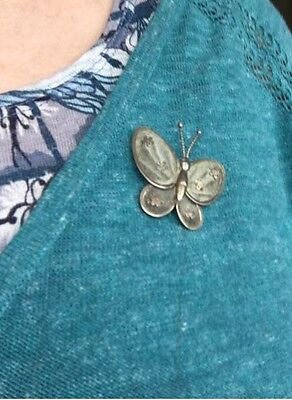 Vintage Unmarked Silver Butterfly Brooch - Secure Locking Clasp - C. 1940's
