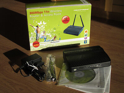 Router y Punto de acceso WiFi Wireless 300 Mbps 11N Conceptronic C300BRS4A