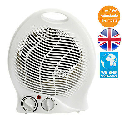 Strong Space Saver Small Fan Portable Electric Heater 2kW Adjustable Thermostat