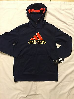 NWT Adidas Boys Pull Over Sweat Shirt Navy Blue/Red Hoodie