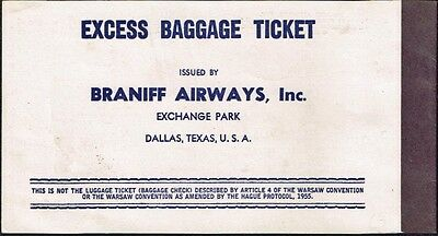 Braniff Airlines Us Aviation Passenger Excess Baggage Ticket 1972