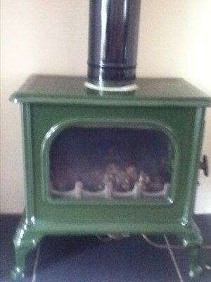 cast iron enamal gas wood burner effect stove fire