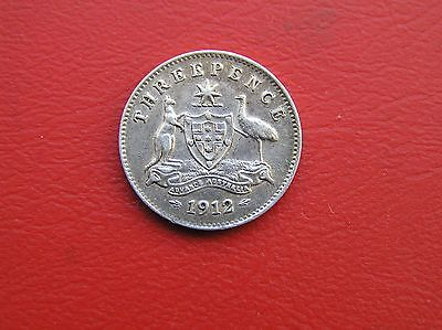 Australia 1912 silver threepence 3d - nice condition (ref 778)